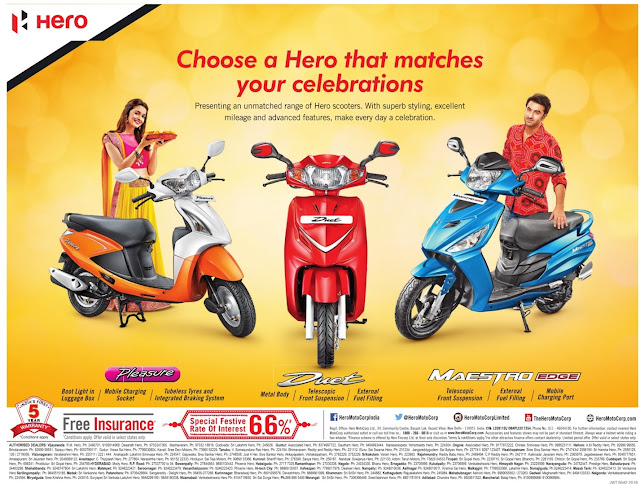 Hero bikes/scooters special discount offers for festival | Dashera/Diwal festival discount offers for October 2016