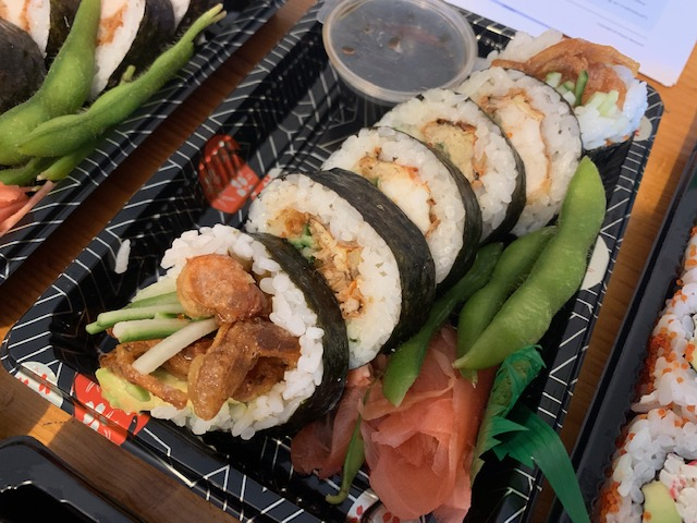 Platter of softshell crab sushi rolls