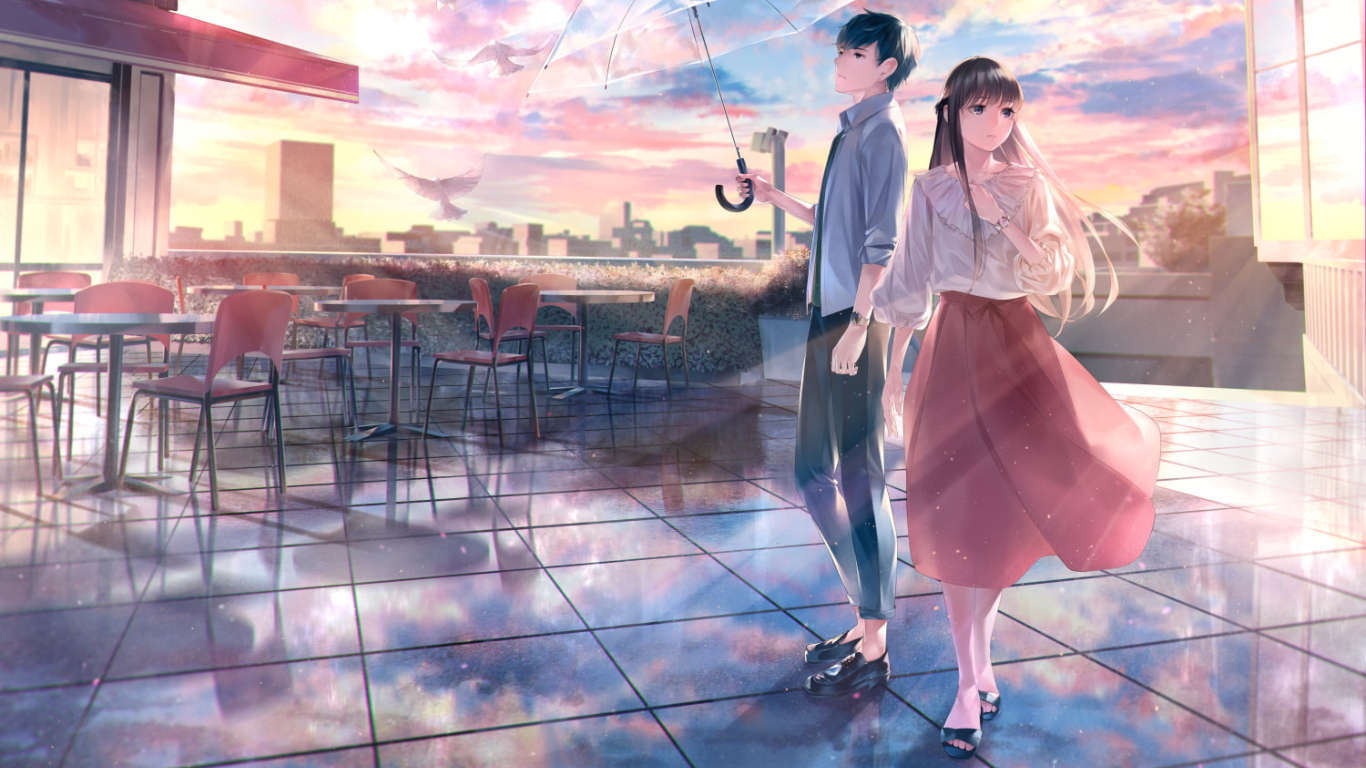 Foto anime berdua desktop full hd