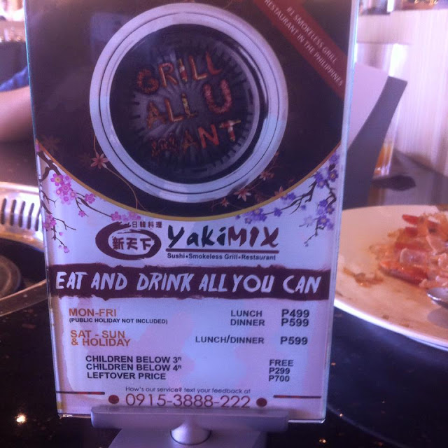 Prices at Yakimix