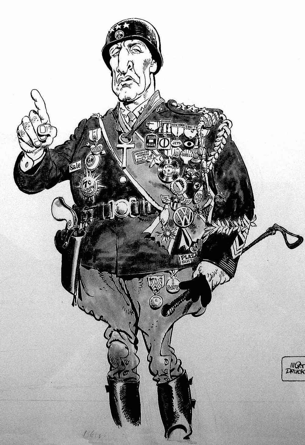 A cartoon of MAD magazine's General Patton by Mort Drucker, George C. Scott