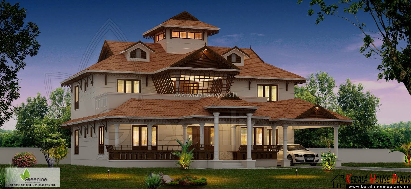 Kerala home design with courtyard