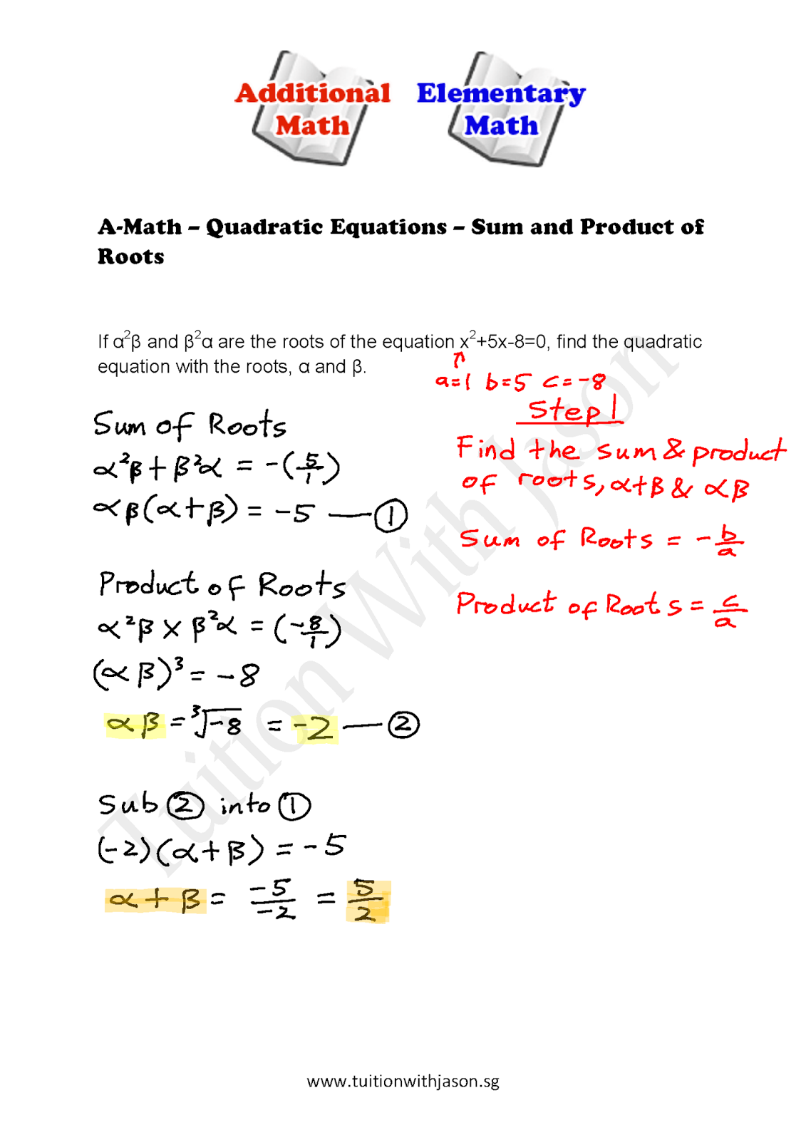 Roots Of Quadratic Equation Alpha Beta Formula