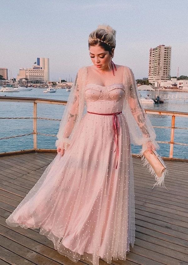 vestido longo rose bordado com perolas