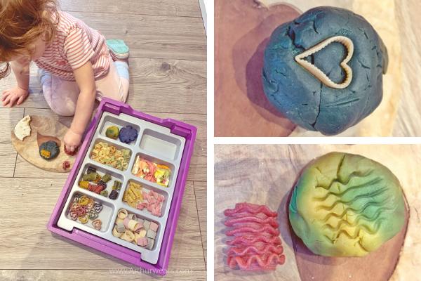 playdough and pasta small tuff tray idea