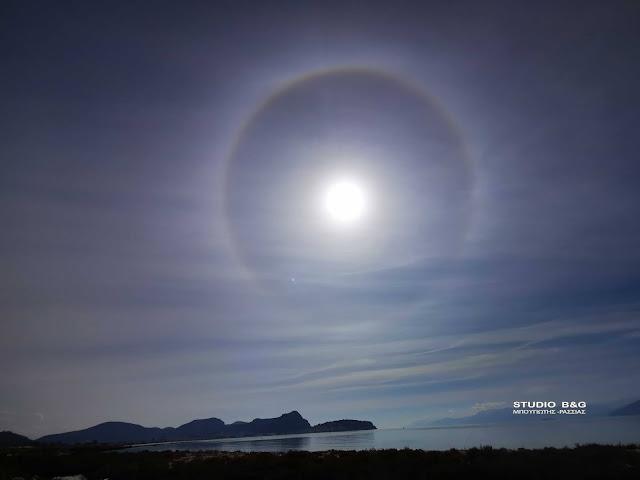 """Τι είναι το οπτικό φαινόμενο """"άλως"""" που εμφανίστηκε στον ουρανό της Αργολίδας"""