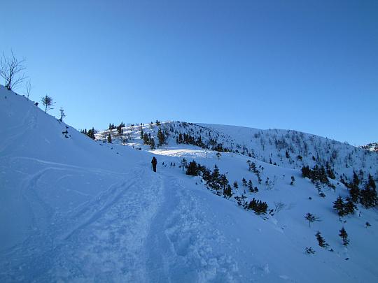 Przełęcz między Kopami widoczna ze zbocza Wielkiej Kopy Królowej. Na przedłużeniu ścieżki wznosi się Mała Kopa Królowa.