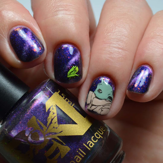 purple magnetic nail polish with baby yoda and frog nail art stamping