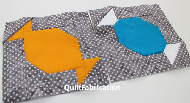 butterscotch and blue mint cube candies quilt blocks by QuiltFabrication
