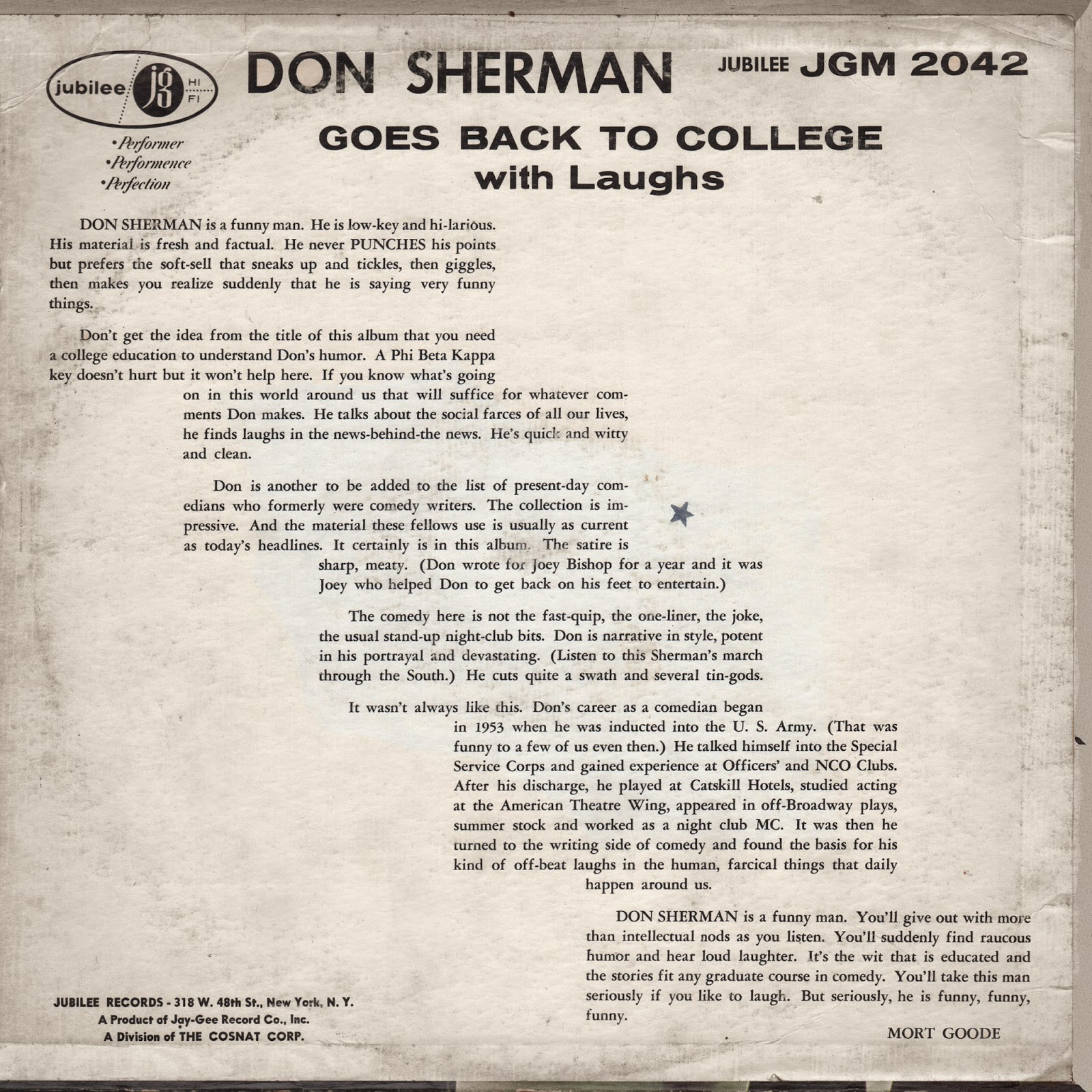 Vintage Stand-up Comedy: Don Sherman - Don Sherman Goes Back To