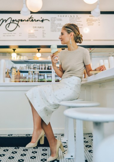 cashmere top - beaded pencil skirt  | jenny walton by tommy ton