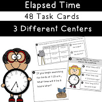 Elapsed Time Task Cards 3 Centers