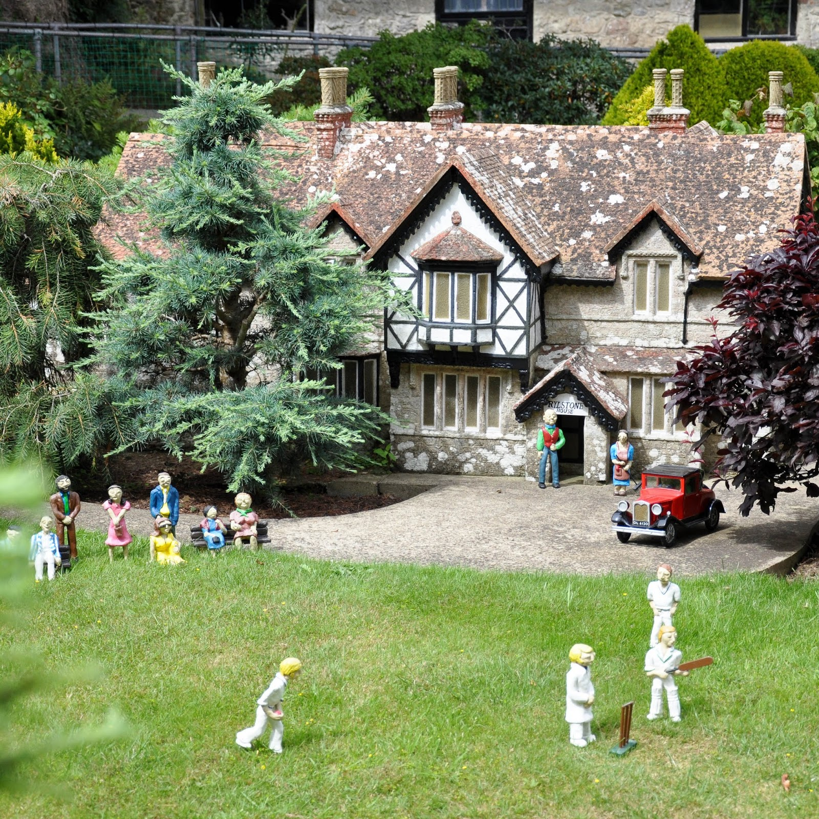 Game of cricket, Model Village, Godshill, Isle of Wight, UK