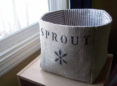 Burlap baskets, says Sprout