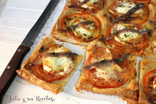 Hojaldre de anchoas y tomate. Julia y sus recetas