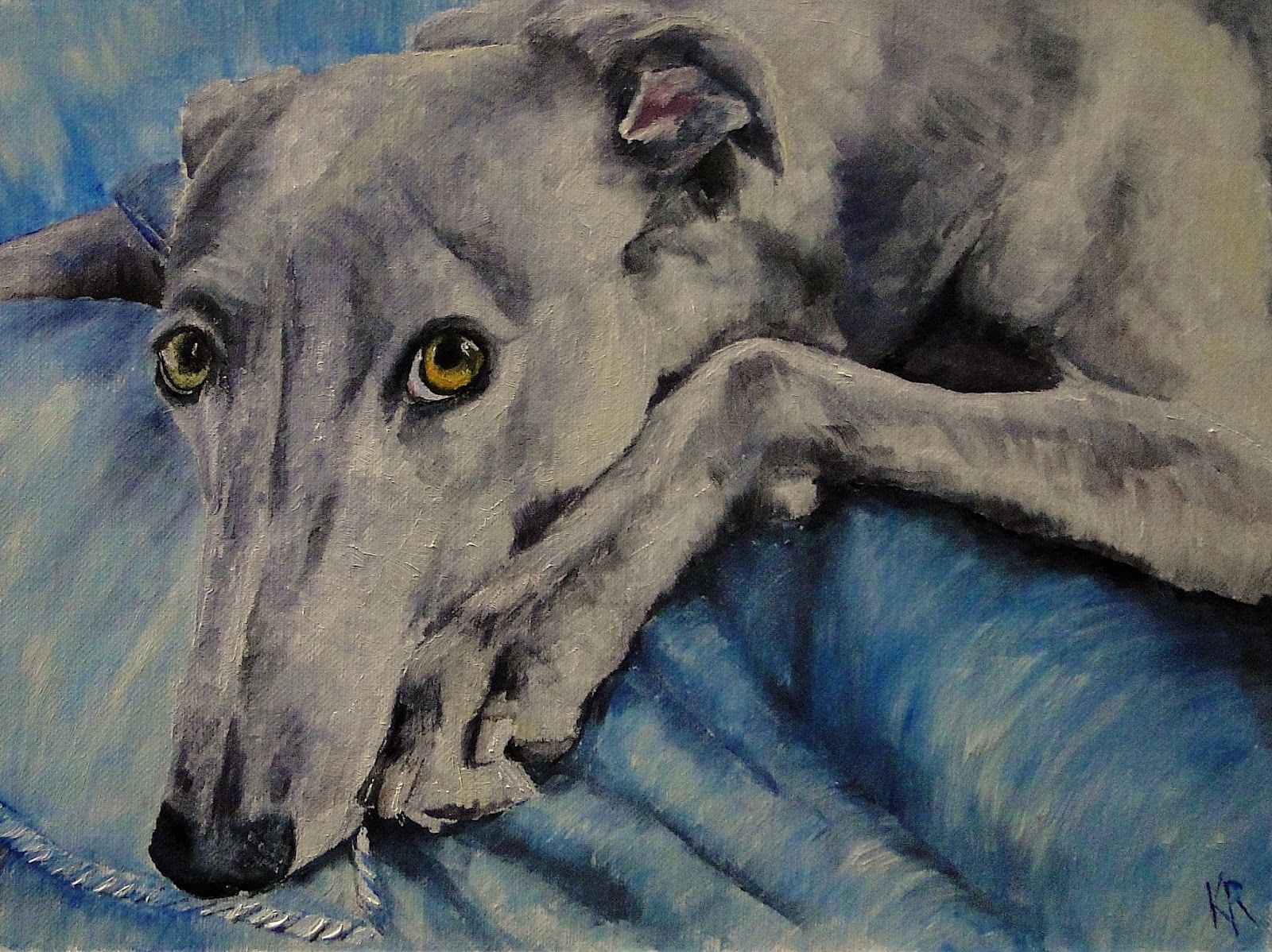 oil painting, retired greyhound, Blue Boy, oils on linen, how to paint a greyhound, pet portrait by karen