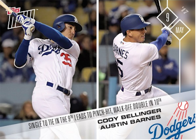 Dodgers Blue Heaven: 2017 Topps Now - #129 - Bellinger & Barnes - Single to Tie in 9th and Walk ...