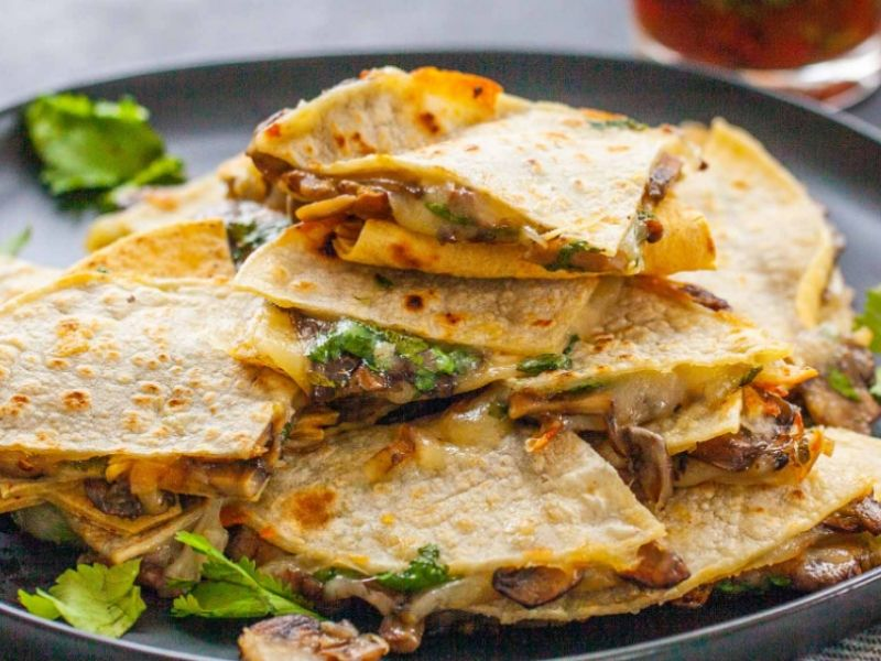 Crispy Cheese And Mushroom Quesadillas