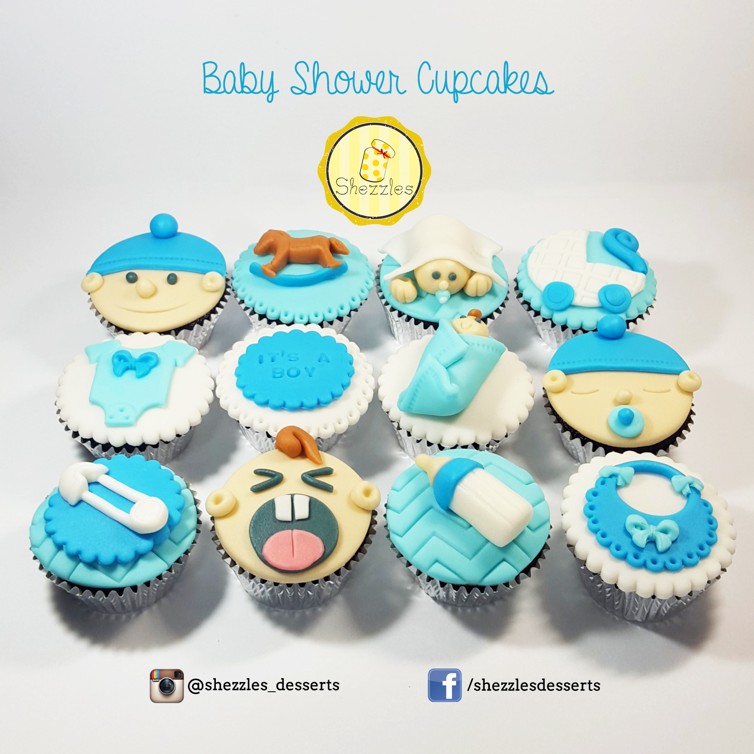 Shezzles Dessert In A Jar Its A Boy Baby Shower Cupcakes