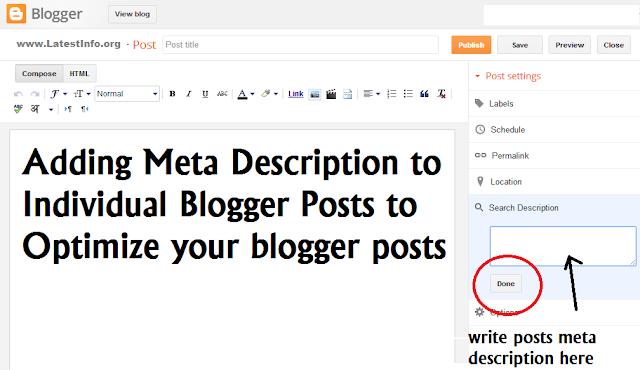 Blogger Meta Description for Individual Blog Post