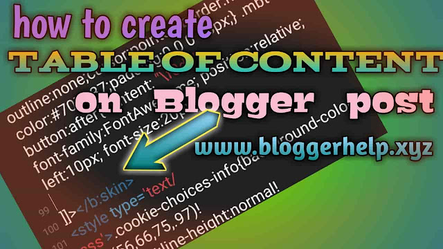 Create content table in Blogger post