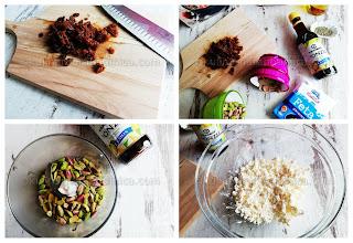 Рецепта за топчета от сирене фета с шам фъстък, сушени смокини и соев сос