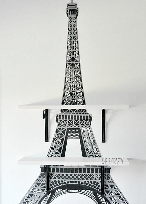 Paris Themed Bedroom - Eiffel Tower Shelves