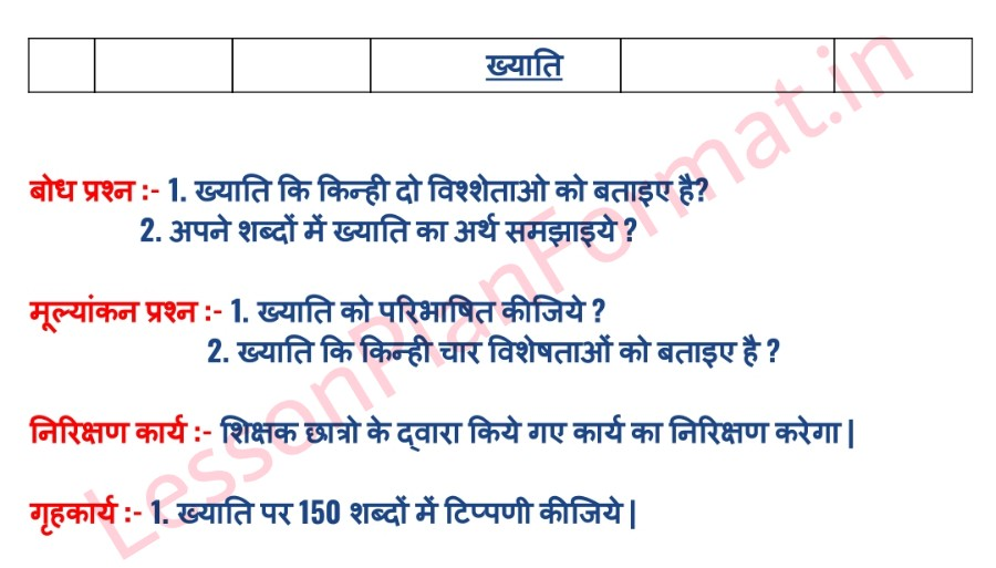 Commerce Lesson Plan In Hindi For B.ed