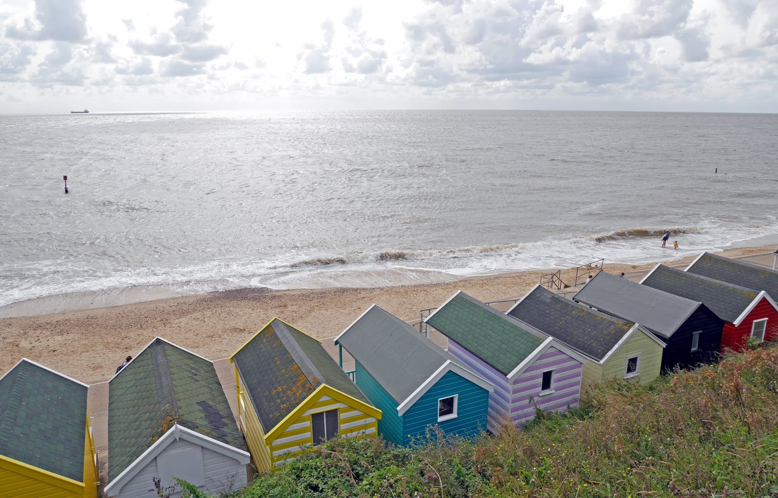 Colourful beach huts on Southwold beach