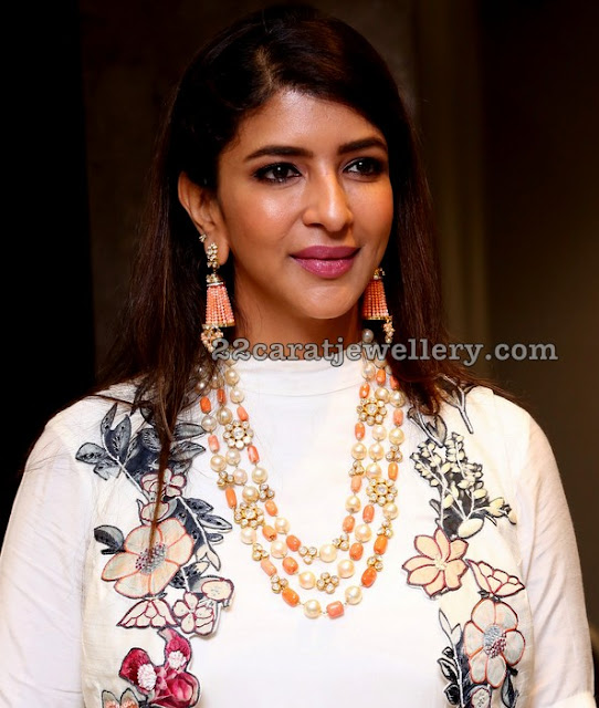 Lakshmi Manchu in Coral Beads Pearls Set