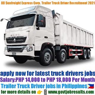88 Sunfreight Express Corp Trailer Truck Driver Recruitment 2021-22