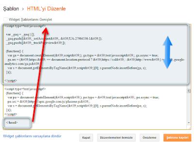 Web mülkü kodu yapıştırılacak alan