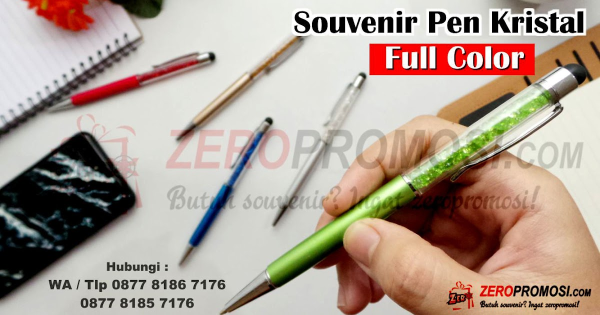 Souvenir Pen Kristal Full Color Dengan Stylus Bisa Cetak Logo - Pen Plastik Custom