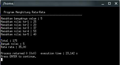 Program C Mencari Rata-Rata Bilangan menggunakan Looping | Pemrogaman C