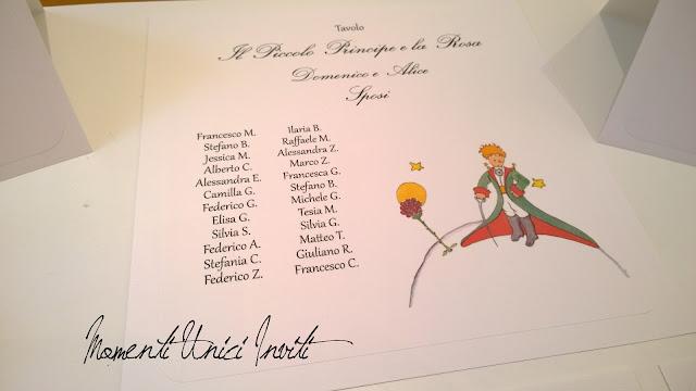 1c I menù e il coordinato per tableau a tema Piccolo Principe per Domenico e AliceCards Tableau Colore Bianco Menù Segnatavolo Tema Piccolo Principe