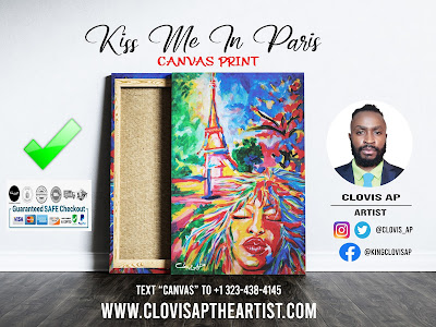 KISS ME IN PARIS CANVAS PRINT - CLOVIS AP