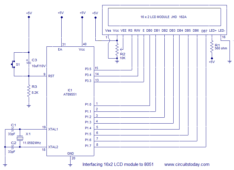 how to interface 16x2 lcd with 8051 microcontroller at89c51