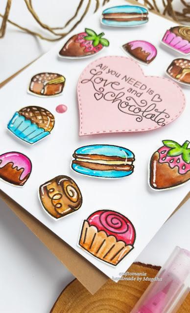 Love & Chocolate Card by April Guest Designer Mugdha Gujarathi | Love & Chocolate Stamp Set by Newton's Nook Designs #newtonsnook #handmade