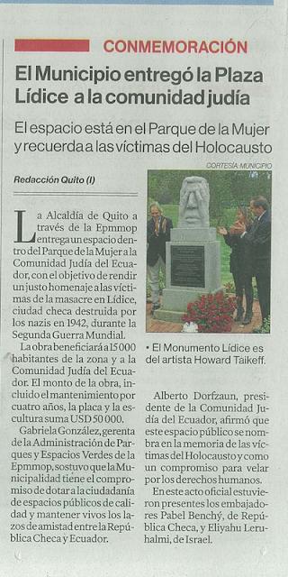 El Municipio entregó la Plaza Lídice a la comunidad judía
