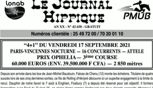 programme quinté Pronostic vendredi 17/09/2021