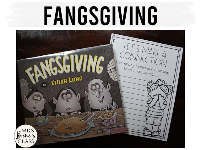Fangsgiving book study unit with Common Core aligned companion activities and a craftivity for Thanksgiving in Kindergarten and First Grade