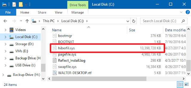 File hiberfil.sys  có xóa được không?