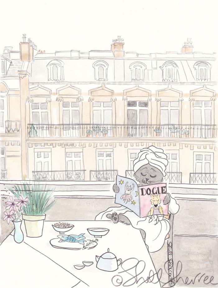 Paris Balcony Breakfast Kitty  © Shell Sherree all rights reserved
