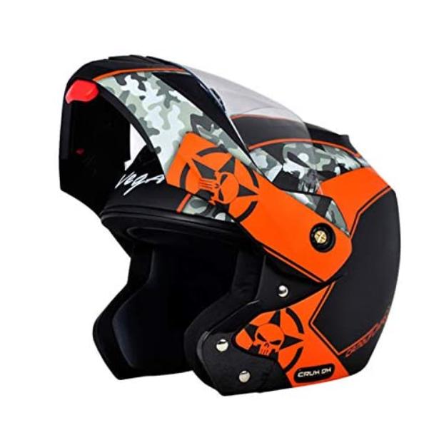 Vega Crux DX Full Face Helmet (Camouflage Dull Black and Orange, M)