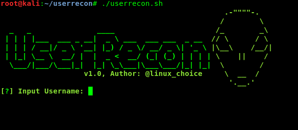 userrecon main menu