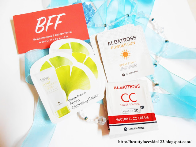 CHARMZONE SAMPLES-Charmzone Gingko Natural Foam Cleansing Cream, Charmzone Albatross Powder Sun SPF41 Pa++