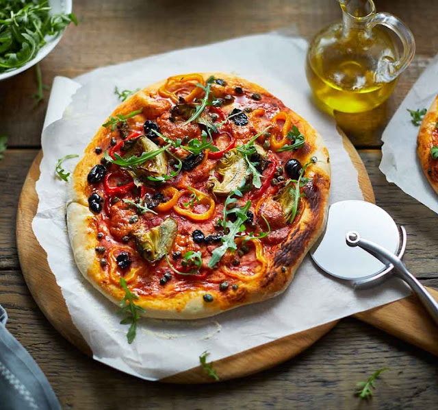 Vegan Pizza With Peppers, Artichokes And Olives Recipe