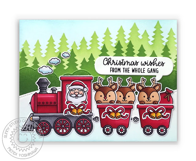 Sunny Studio Christmas Wishes From The Whole Gang Santa with Reindeer in Red Train Card (using Holiday Express Stamps, Forest Trees Stencils. Fluffy Cloud Border Dies & Slimline Nature Border Dies