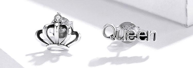 不對稱風 Queen女王 925純銀耳環