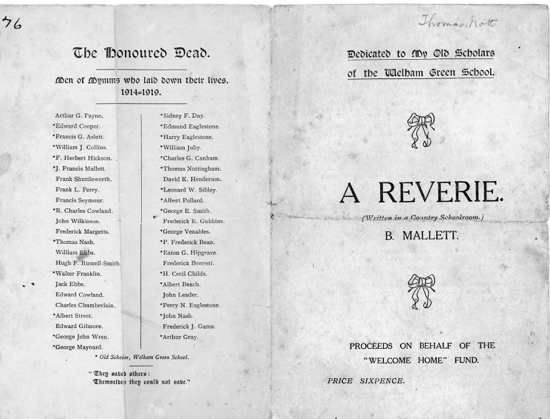 Scan of a reverie dedicated to old scholars of Welham Green School 1919 - Image from P. Miller / B. Mallett